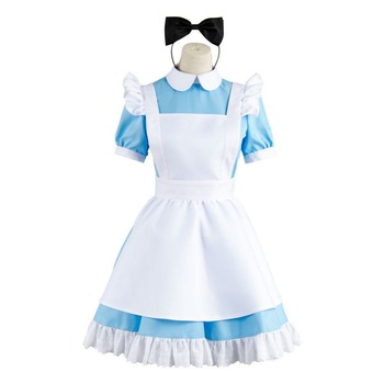 Alicia en el país de las Maravillas sirvienta mujer adulto Cosplay disfraz Lolita azul delantal vestido de fiesta de Halloween