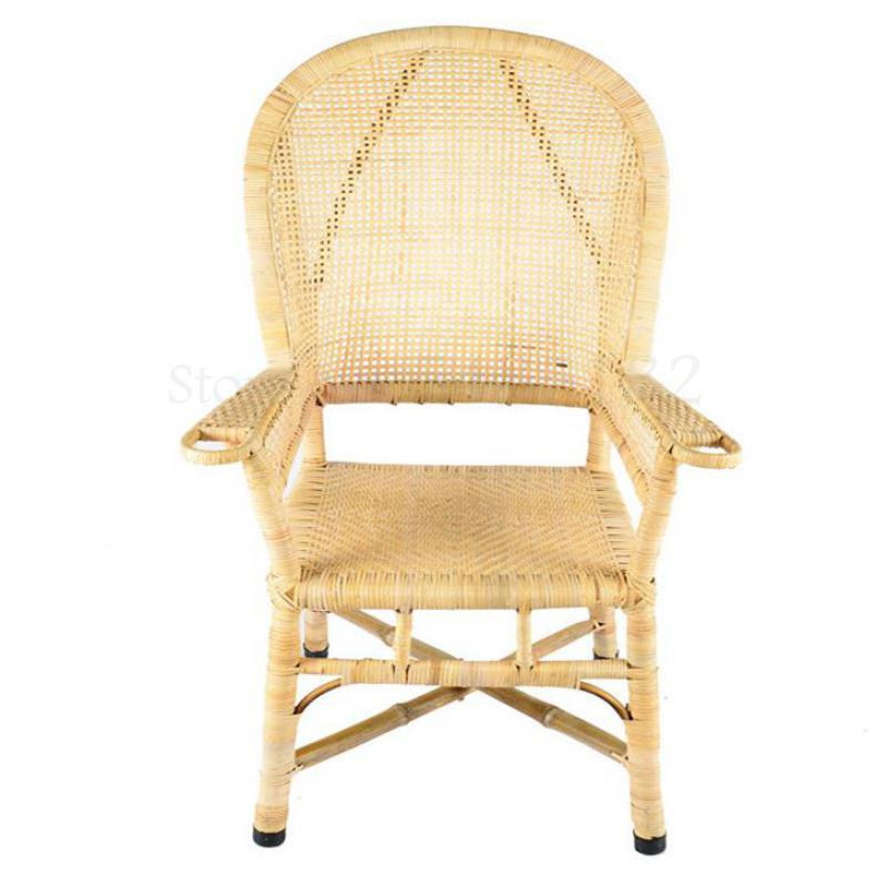Rattan chair dining chair circle chair retro old high chair computer chair leisure special outdoor balcony adult bamboo chair