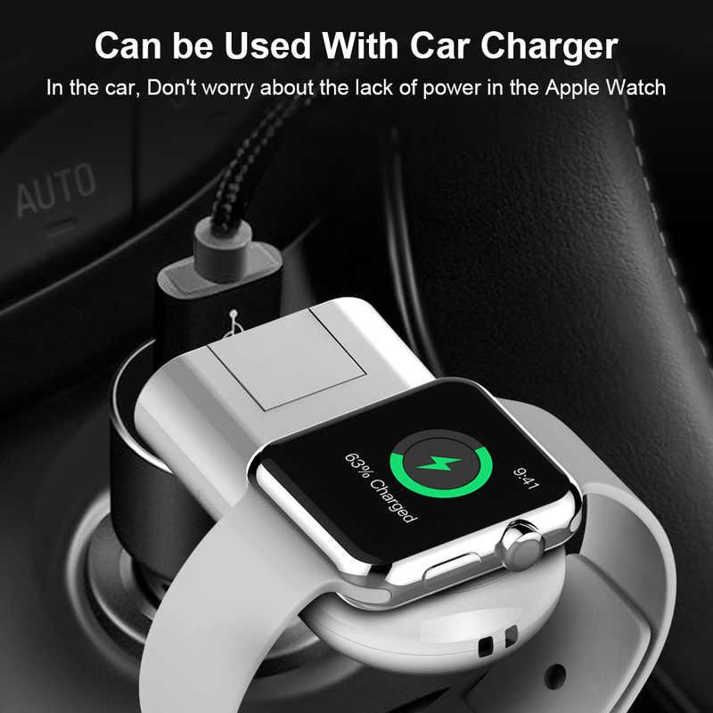 Cargador inalámbrico portátil para Apple Watch Series 2 3 Cable de carga de reloj cargador USB para I Watch 1 2 3 clip adaptador de 4 puertos