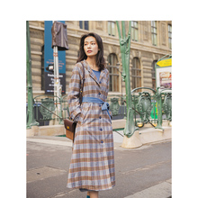 INMAN Spring Autumn New Arrival Leisure Hooded Fashion Check Contrast Color Belt Long Trenc