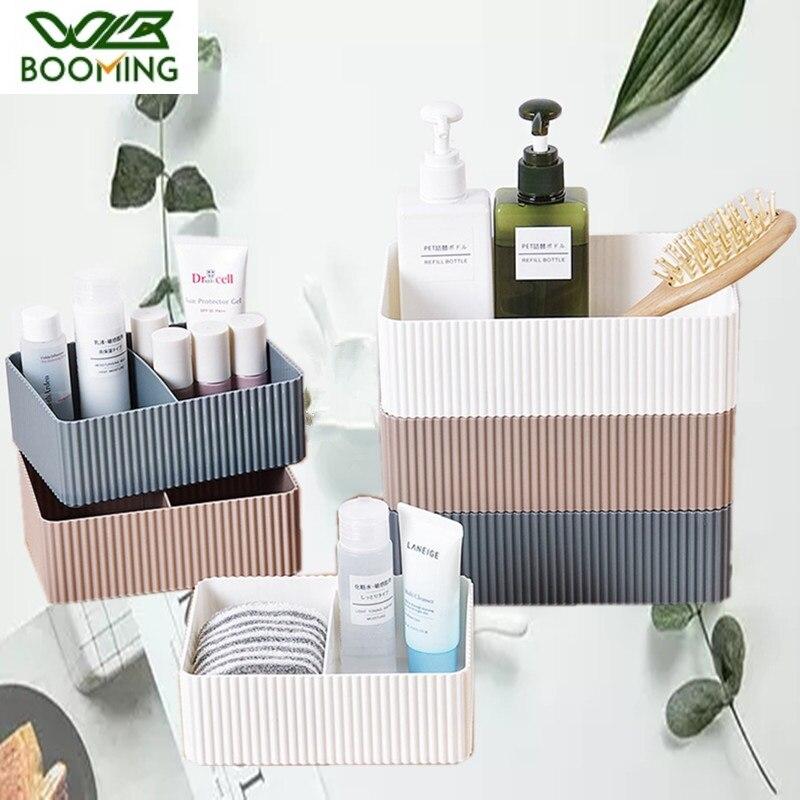 WBBOOMING Plastic Home Office Bathroom Storage Box Grid Desktop Sundries Storage Box Makeup Organizer Cosmetic Closet Bin Case