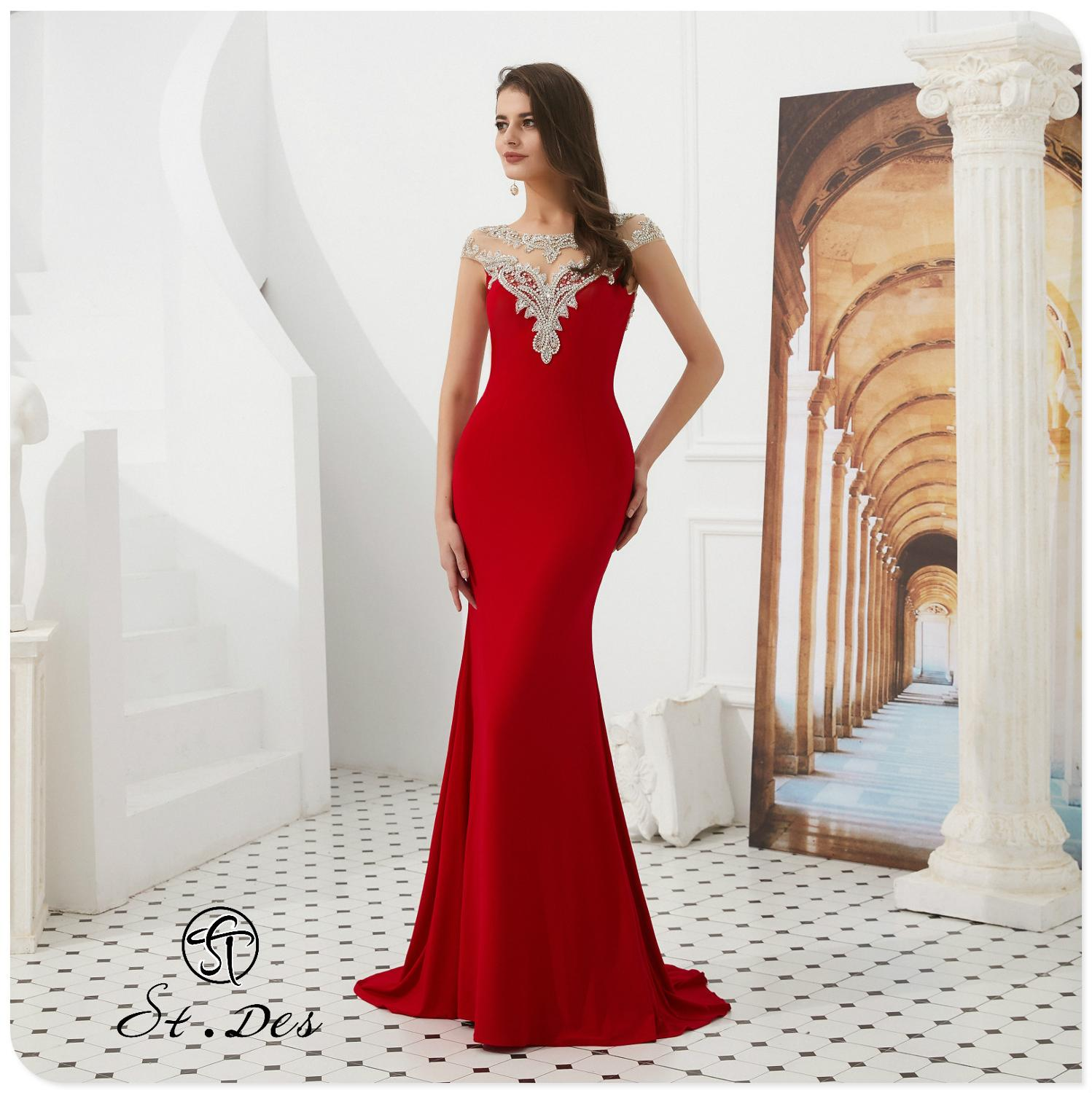 NEW 2020 St.Des Mermaid Russian Red Tassel Beading Sleeveless Designer Floor Length Evening Dress Party Dress