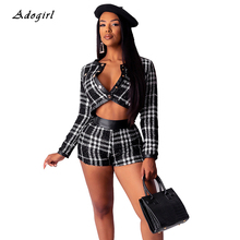 Vintage Plaid Slim Two Piece Set Elegant PU Patchwork Jeckets Top With Shorts Women Sets Sexy Autumn Evening Club Party Outfit