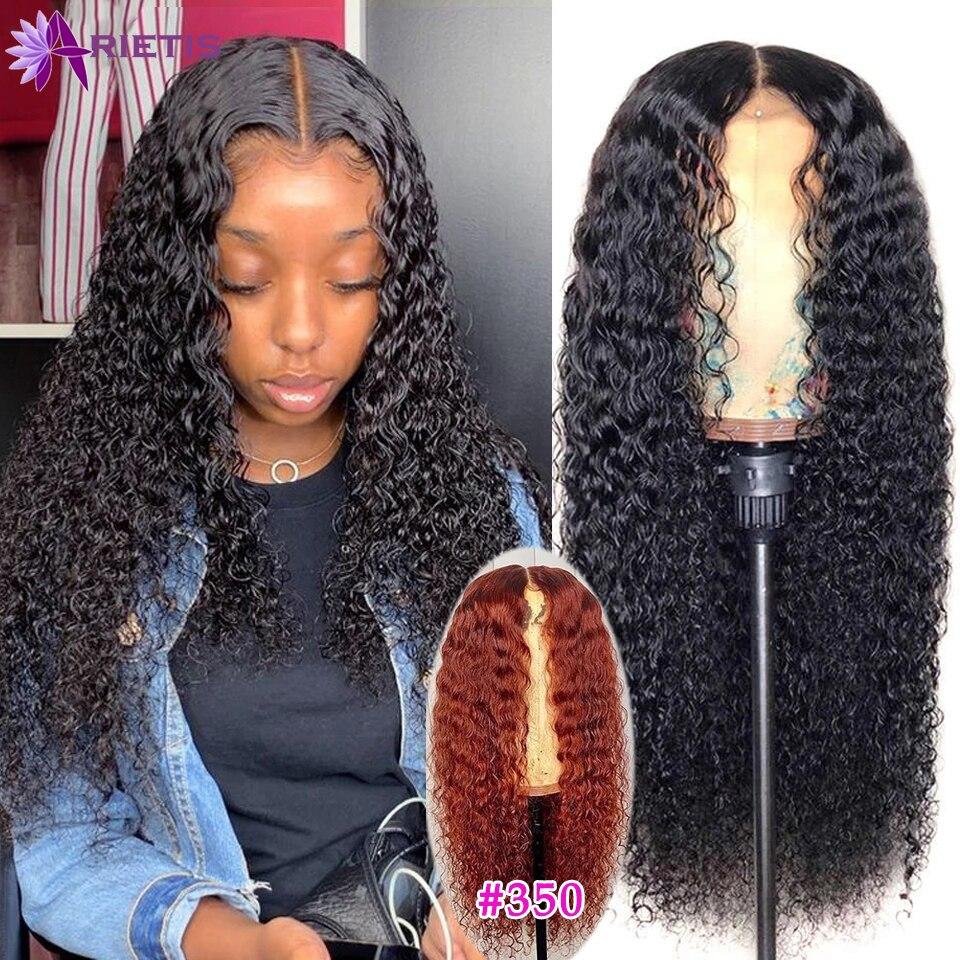 Парик #30 из кудрявых человеческих волос с оранжевым имбирем, 28, 30 дюймов, плотность 180%, парик с застежкой на сетке 4x4, предварительно выщипанн...