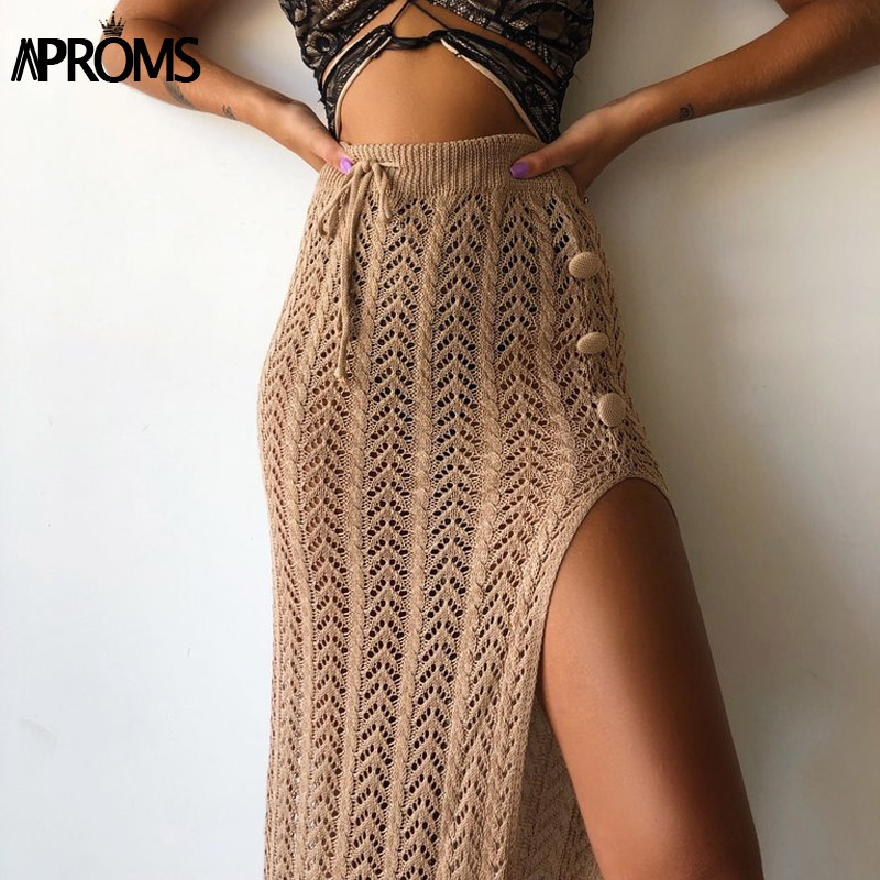 Aproms Boho Handmade Knitted Long Maxi Skirt Women Summer Sexy Side Split Drawstring High Waist Beach Skirts Black Bottoms 2020