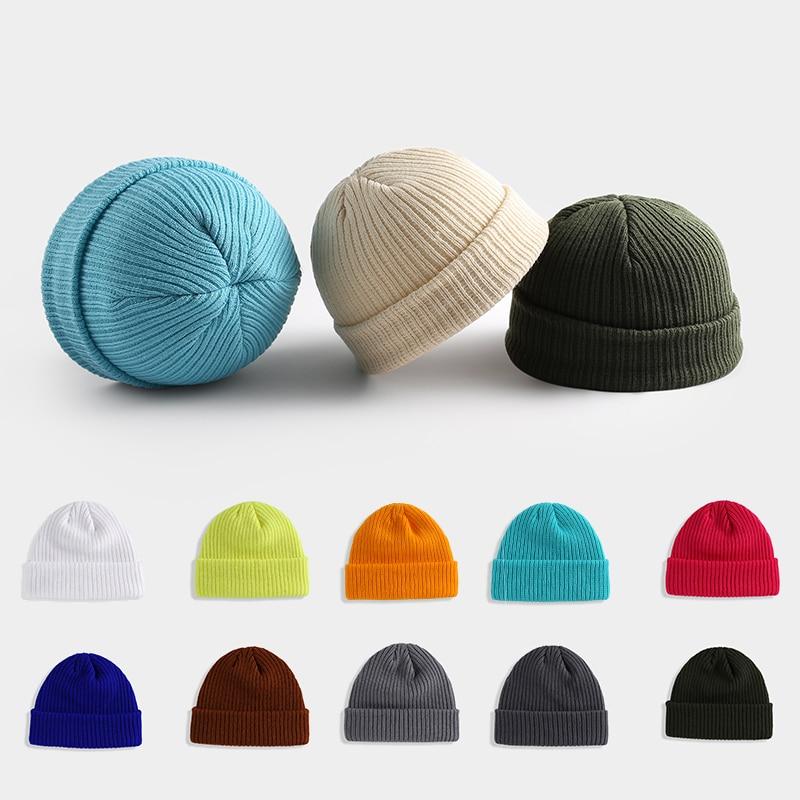 Winter Hats Solid Hip Hop Beanie Skullcap Street Knitted Hat Soft Women Men Acrylic Unisex Casual Solid Pumpkin Warm Melon Cap