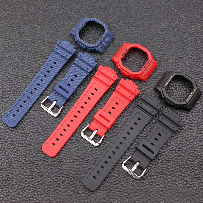 Watch Accessories Resin Strap 16mm For Casio G-SHOCK DW5600 5700 GW5035 5000Transparent Silicone Men's And Women's Sports Band