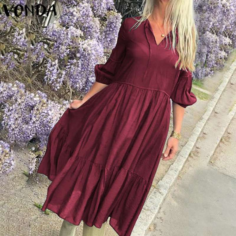 VONDA Summer Dress Women Bohemian Maxi Long Dress 2020 Female Casual Long Robe Holiday Beach Sundress Plus Size Vestidos S-5XL