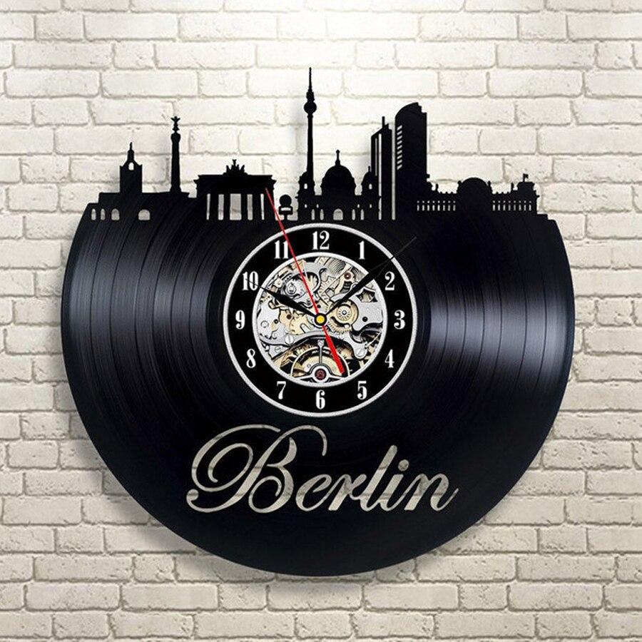 Vinyl Wall Clock Modern Design Living Room Decoration Berlin City Theme 3D Stickers Hanging Clocks Wall Watch Home Decor Silent