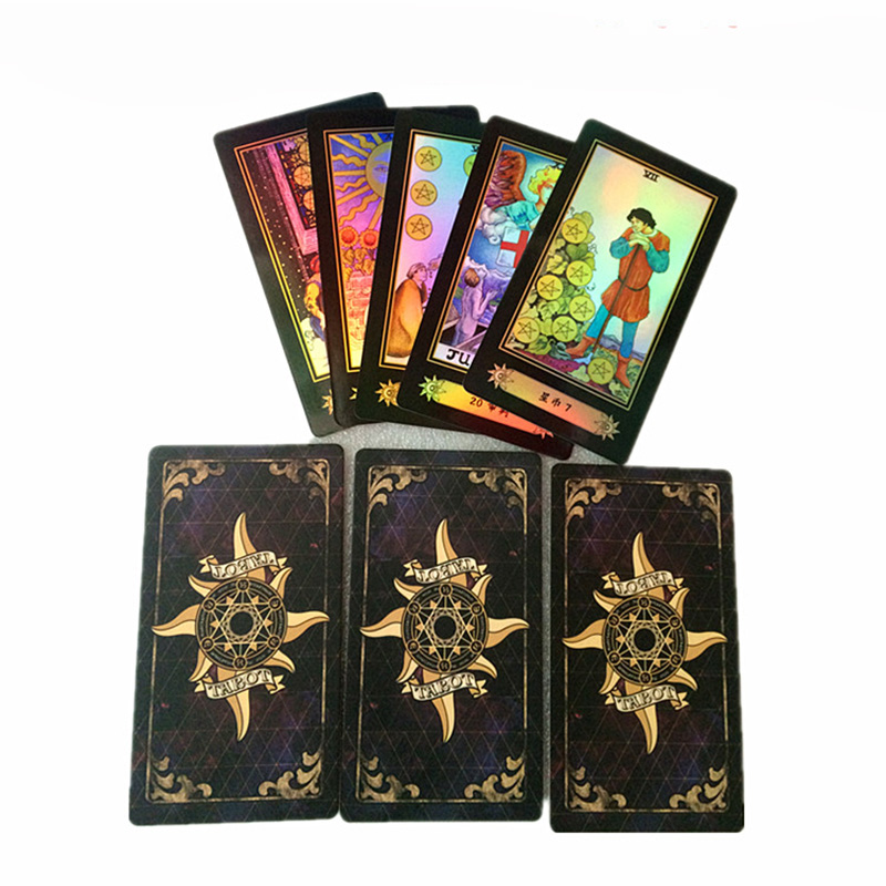 Holographique Cartes de Tarot Jeu de Plateau de Papier De Haute Qualité 78 pièces Chine Cartes pour Astrologer