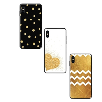 Less Expensive Black Soft TPU Case Protective Black Tpu+pc Gold Polka Dots Wave Heart Word For Samsung Galaxy A5 A6 A7 A8 A10 image