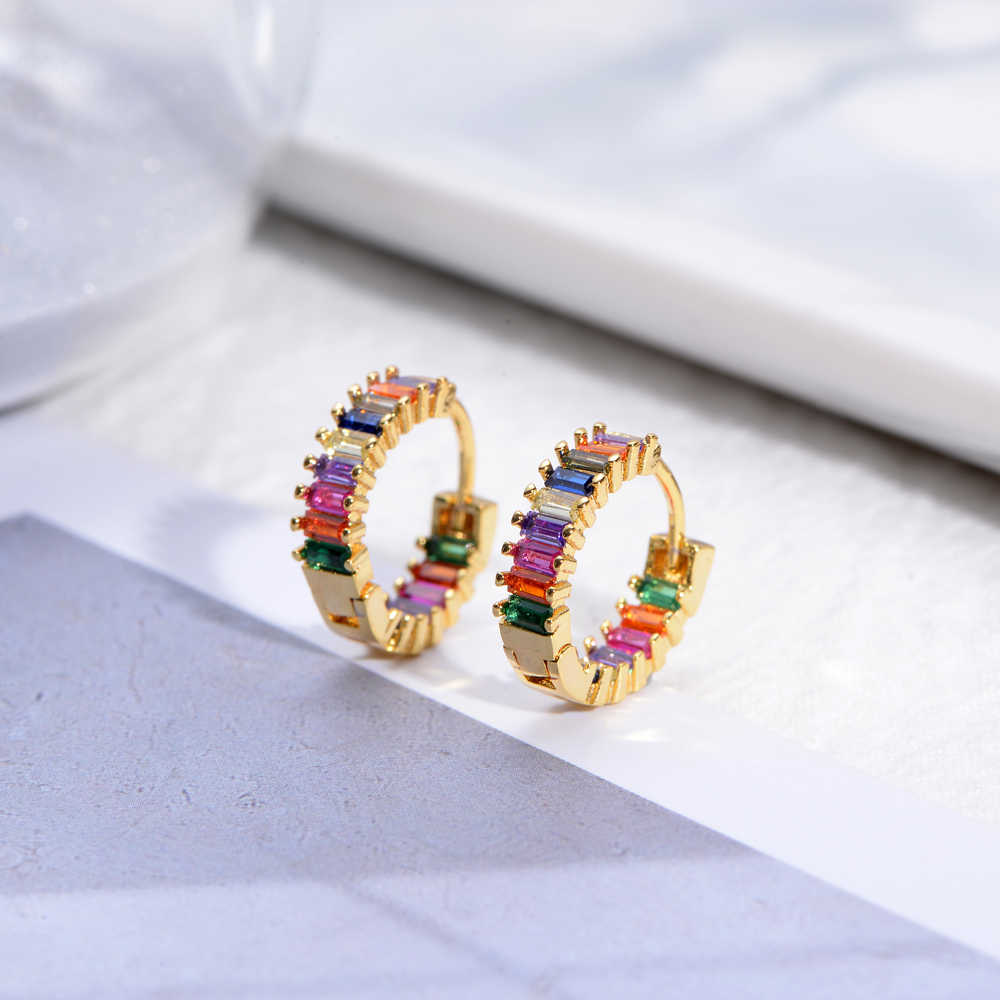 Luxury woman's rainbow crystal ring diy jewelry gold zircon rings initial dropshipping for women gift