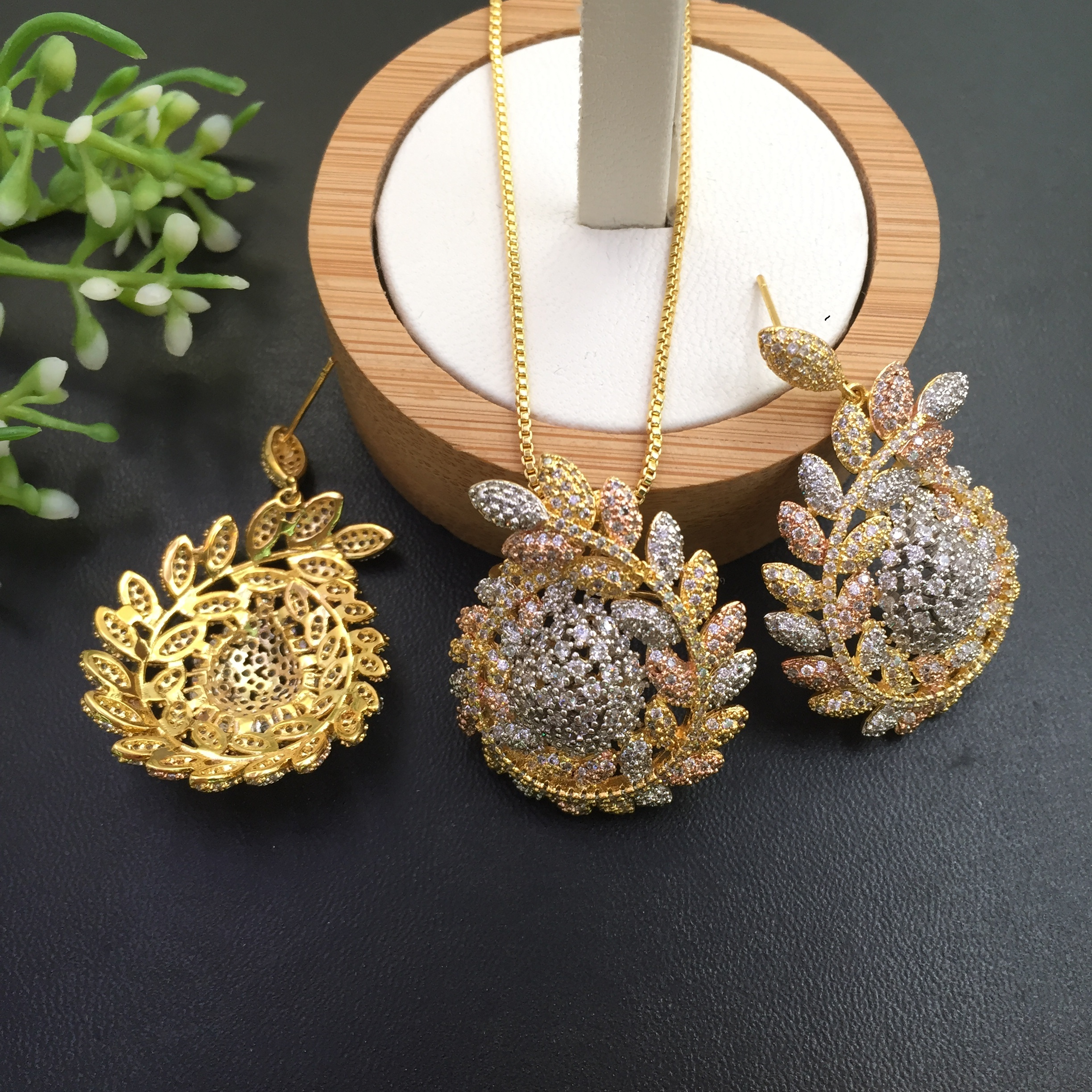 Image 3 - Lanyika Jewelry  Distinctive Fortunate Hopeful Of Wheat  Plated Necklace with Earrings Wedding Engagement Popular Best Gifts-in Jewelry Sets from Jewelry & Accessories