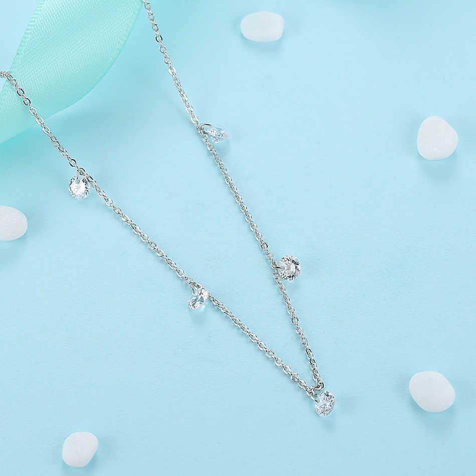ELESHE luksusowe 925 srebro Cubic cyrkon kryształ okrągły Choker naszyjniki wisiorek dla kobiet ślub oryginalna biżuteria srebrna