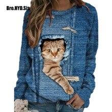 Engraçado gato bonito impressão 3d pulôveres casuais roupas femininas primavera outono camisolas de manga longa t-shirts senhora roupas moda topos