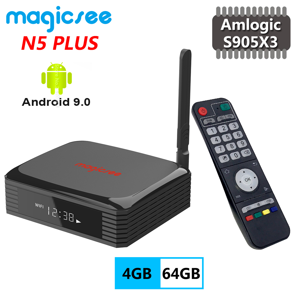 Magicsee N5 PLUS Amlogic S905X3 4GB RAM 64GB ROM Smart Android 9.0 TV Box Support 2.5 Inch SSD HDD Up To 4TB 4K HD Media Player