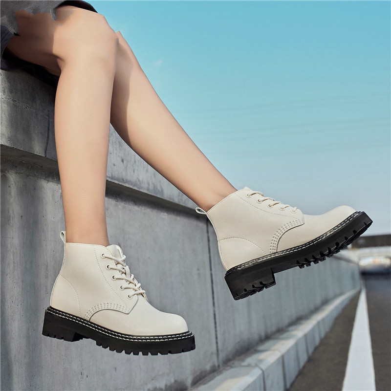 Chelsea Boots Shoes Motorcycle-Shoes Zapatos-Mujer Autumn Winter Genuine-Leather Women