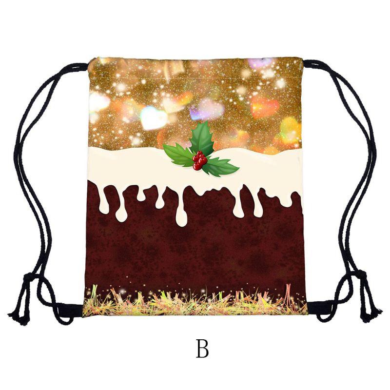 Portable WoMan Christmas Backpack Print Shopping Bags Drawstring Travel Bag