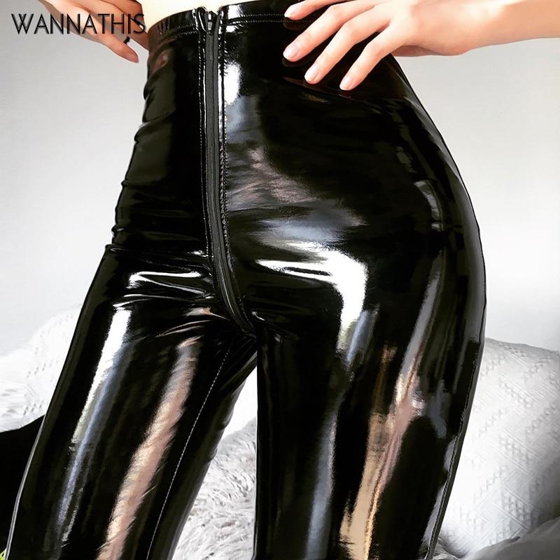 Wannathis Leather Pant Faux PU Pencil Pant Zipper High Waist Slim Skinny Fashion Streetwear Autumn Casual Trousers Women Pants