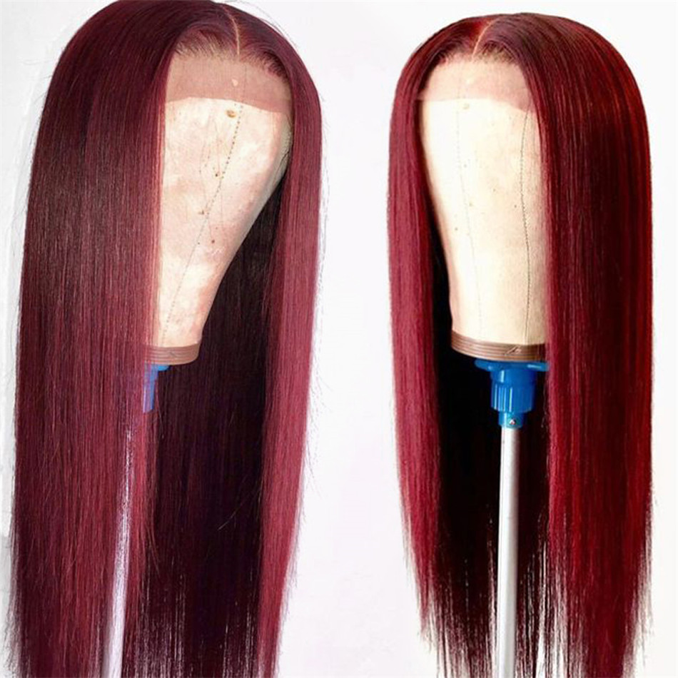 99J Burgundy Colored Lace Front Human Hair Wigs Pre Plucked 13x4 8-26 Inch 150% Peruvian Straight Remy Hair Lace Frontal Wigs