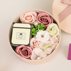 Creative Round Shaped Candle Simulation Rose Flower Soap Candle Body Rose Petal Gift Box Women Girls Mothers Birthday Gift #LR4