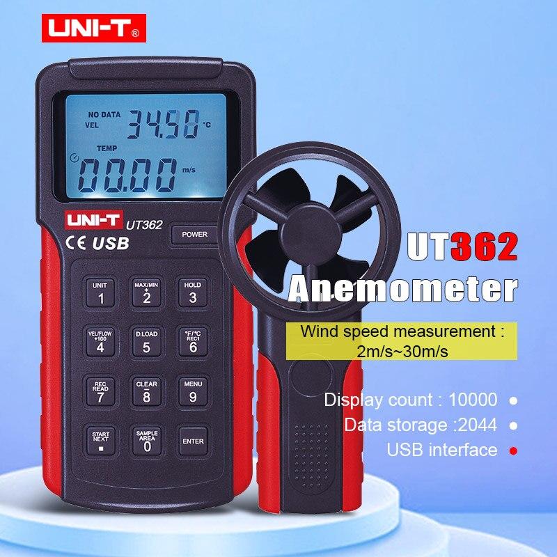 UNI-T UT361 UT362 Profession compteur de vitesse du vent numérique tachymètre Anemoscope 2-30 m/s anémomètre de Type divisé avec stockage de données