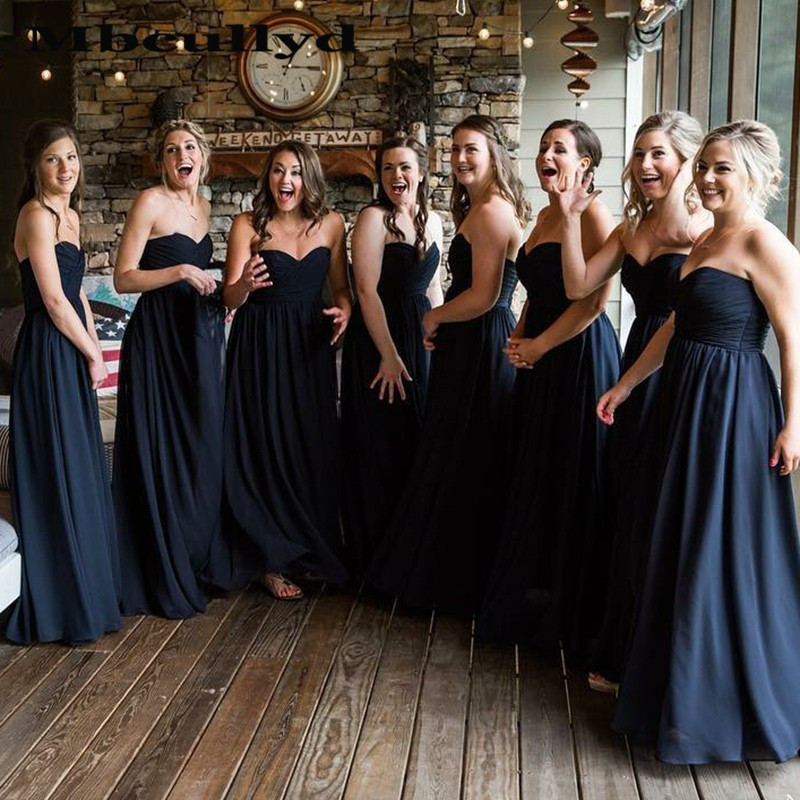Mbcullyd Navy Blue Chiffon   Bridesmaid     Dresses   With Ruffles Cheap Long Backless Maid Of Honor   Dress   Prom For Women Plus Size