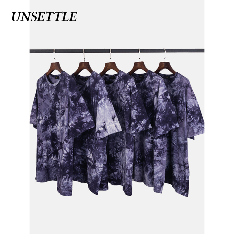 UNSETTLE 2020SS Men/Women Harajuku Hip Hop Tie Dye Print T-Shirt Oversize Streetwear T Shirt Summer Short Sleeve Tops Tee Cotton