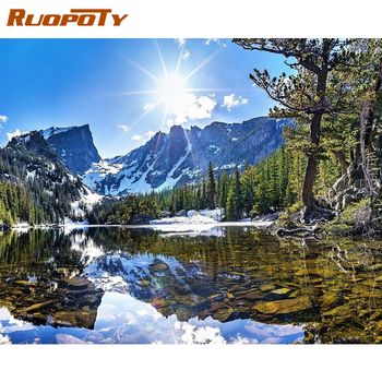 RUOPOTY Frame DIY Painting By Numbers Landscape Snow Picture By Numbers For Adults Modern Wall Art Decors Handpainted Diy Gift ruopoty frame mountain lake diy painting by numbers landscape handpainted oil painting modern home wall art canvas painting art
