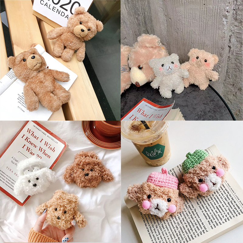 Winter Knit Cute Case Cover For Apple Airpods 1/2 Earphone Cases Plush Brown Teddy Bear Bluetooth Headphone Bag Air Pods Lanyard