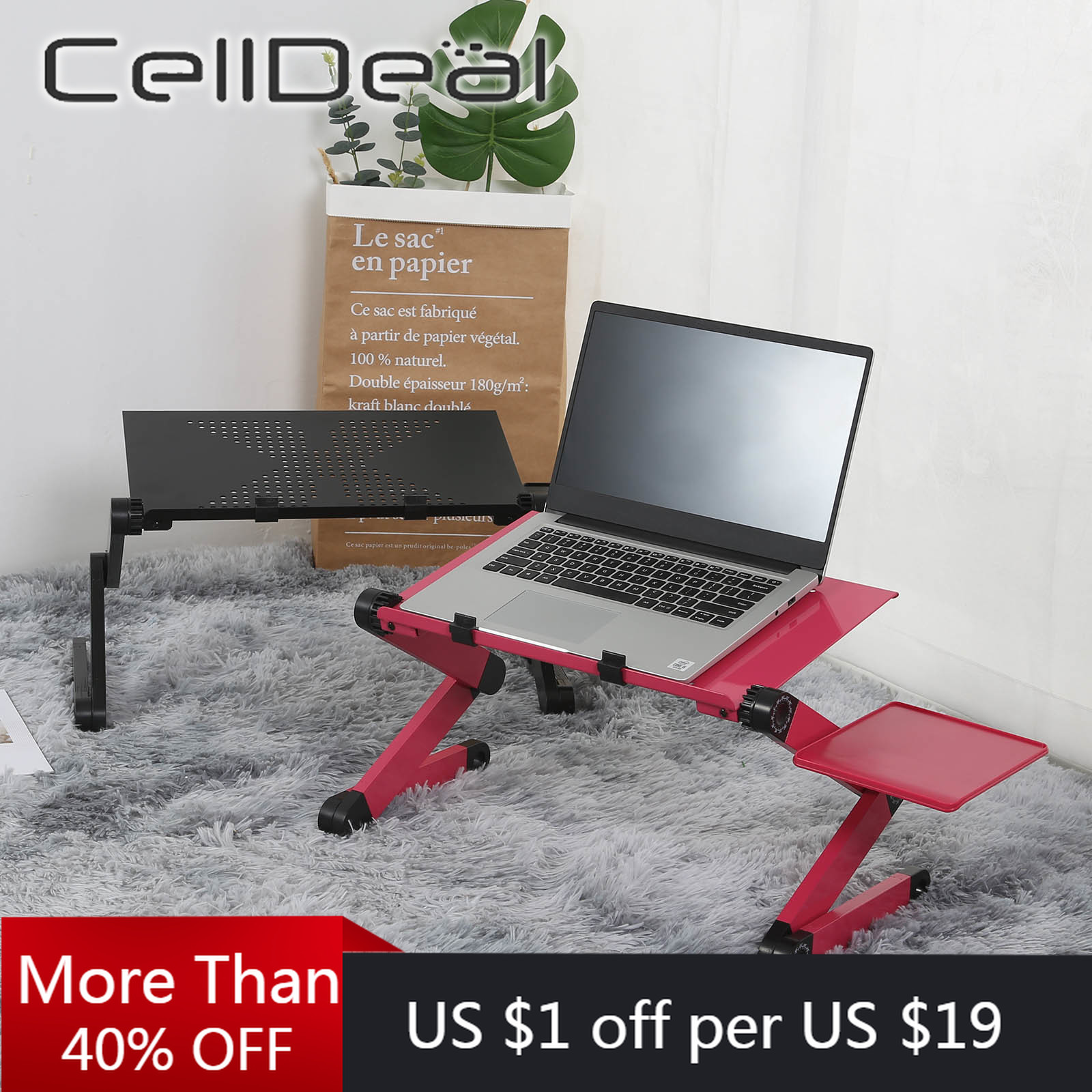 Aluminum Alloy Laptop Computer Table Simple Design Foldable And Rotatable Office Bed Desk Humanized Design With Mouse Pad