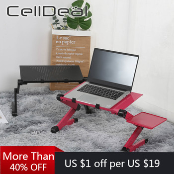Aluminum Alloy Laptop Computer Table Simple Design Foldable And Rotatable Office Bed Desk Humanized With Mouse Pad - discount item  45% OFF Office Furniture