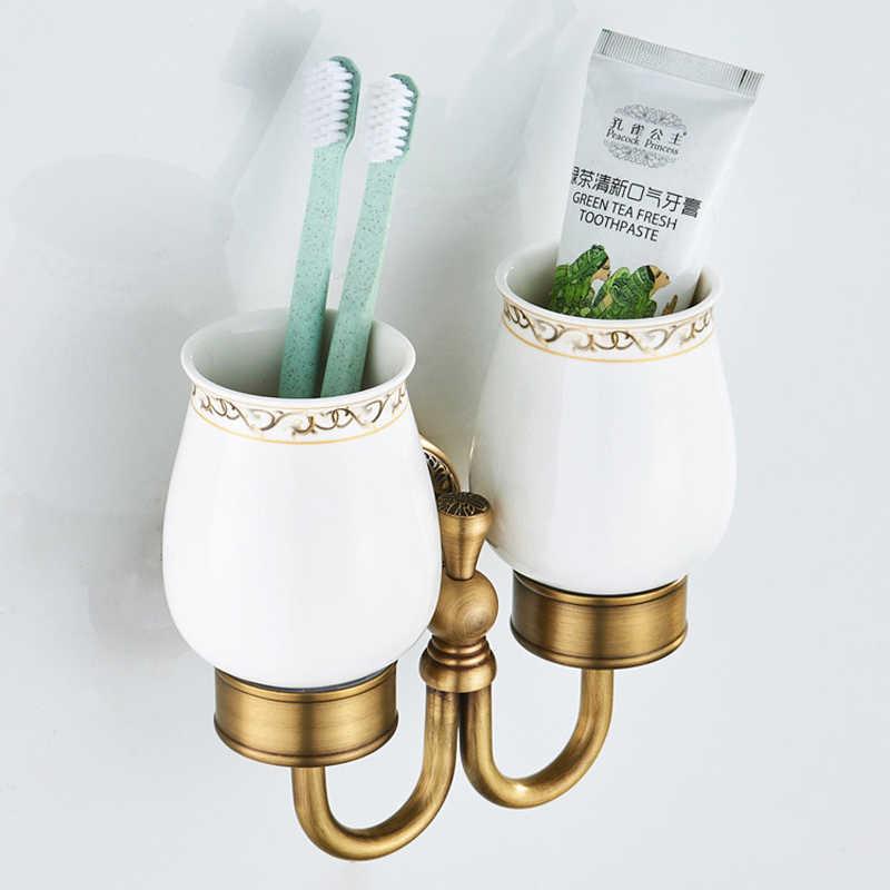 אמבטיה כפולה מחזיק כוס בציר כוס מברשת שיניים מחזיקי בציר מוברש זהב Stand קיר הר לבן פורצלן כוסות מתלה