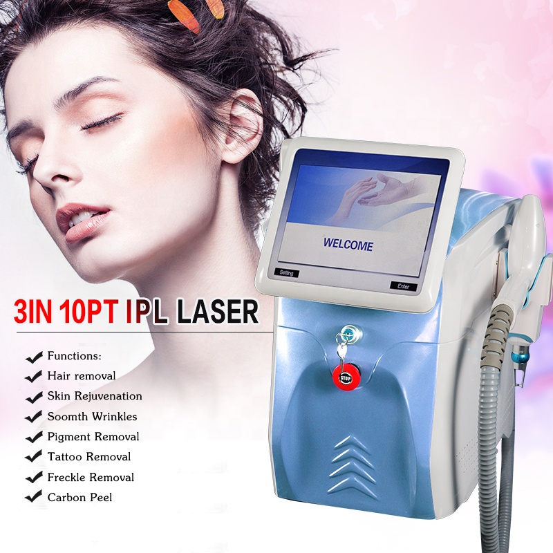 Professional Portable 2 In 1 IPL Nd Yag Laser Hair Removal Acne Birthmark Pigmentation Tattoo Removal Machine