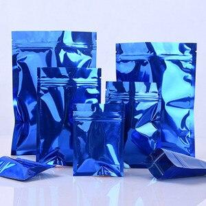 1000 pçs liso azul auto selo da folha de alumínio zíper rasgo entalhe pacote malotes feijão secos nozes de carne saco de armazenamento varejo