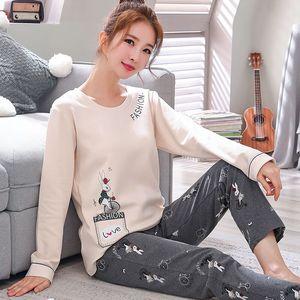 Image 1 - New Autumn Pajamas For Women Knitted Cotton Pajama Set Homewear Pijama Mujer Long Sleeve Casual Soft Big Size Female Sleepwear