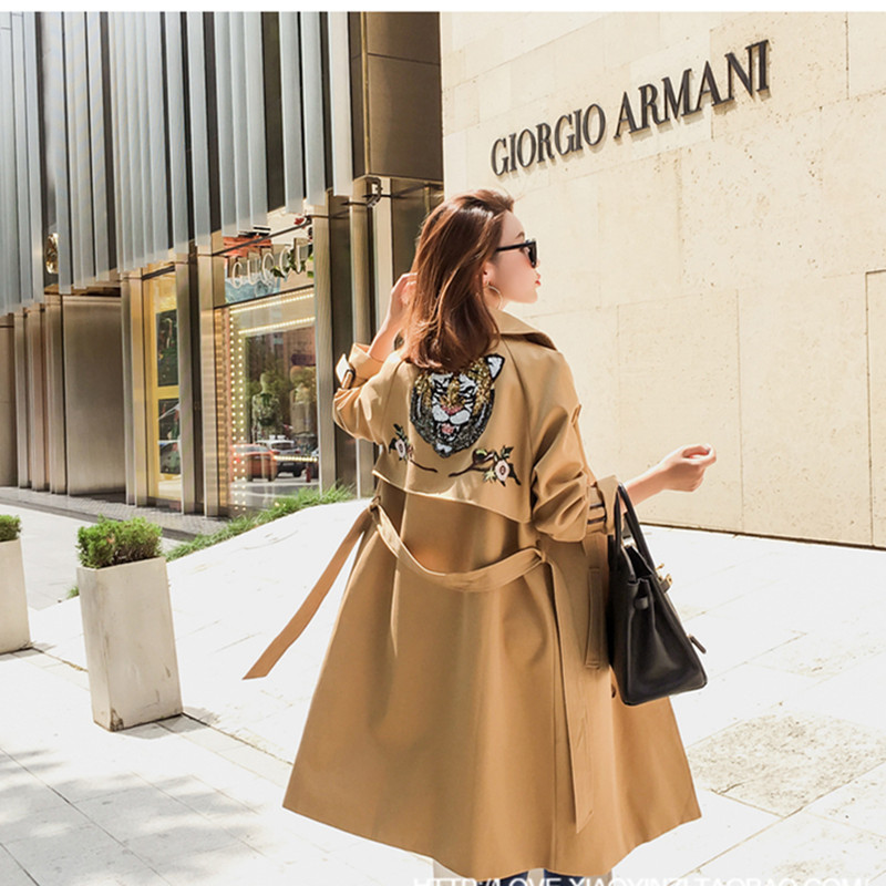 Spring autumn trench coat women clothes new sequin