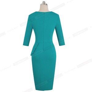 Image 2 - Nice forever Vintage Elegant Pure Color with Keyhole Ruffle vestidos Business Party Bodycon Office Women Dress B540