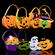 Halloween Foldable Candy Smile Pumpkin Bag Folding Personality Festival Party Decor Child Gift