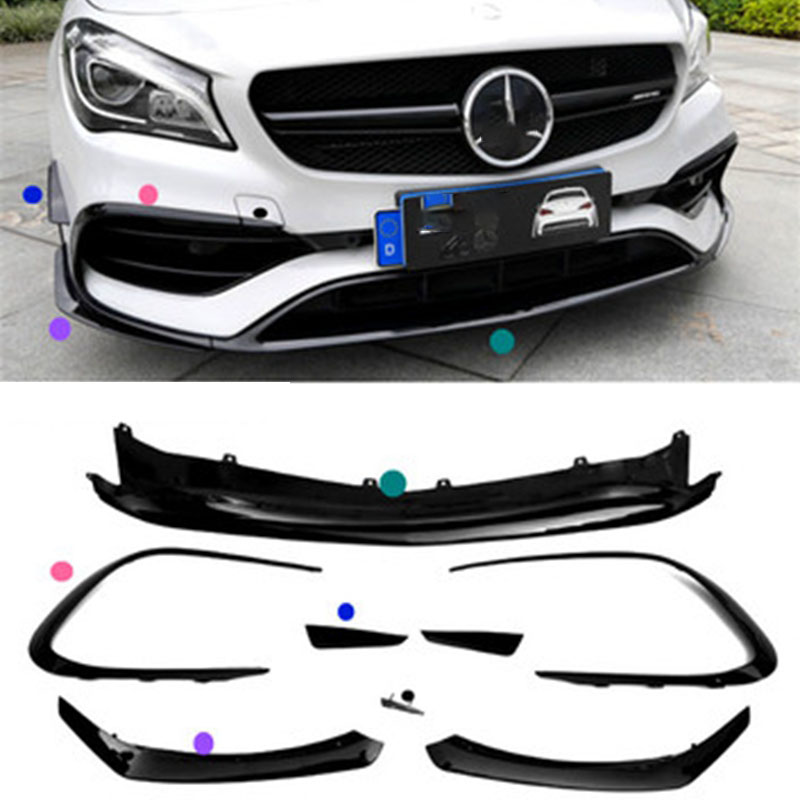 For <font><b>Mercedes</b></font> Benz CLA Class <font><b>CLA45</b></font> <font><b>AMG</b></font> Sports Version 2016-2018 Gloss Black Front Bumper Lip Spoiler Splitters Canards Vents 8Pcs image