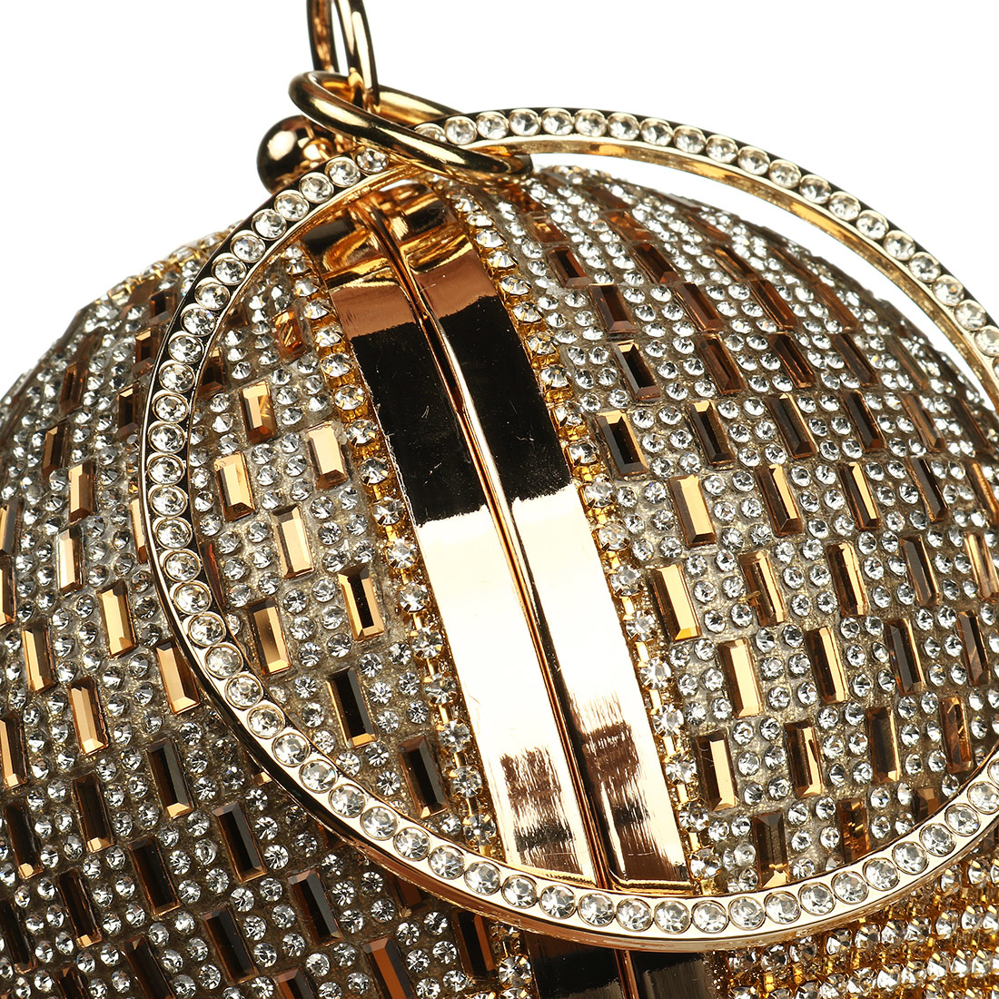 H88387f09a05c47078c415586e50384des - Sliver Diamonds Rhinestone Round Ball Evening Bags For Women Fashion Mini Tassels Clutch Bag Ladies Ring Handbag Clutches