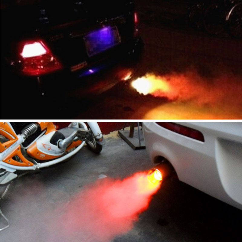 Universal Car LED Rear Exhaust Pipe Spitfire Red Light Flaming Muffler Tip Trim