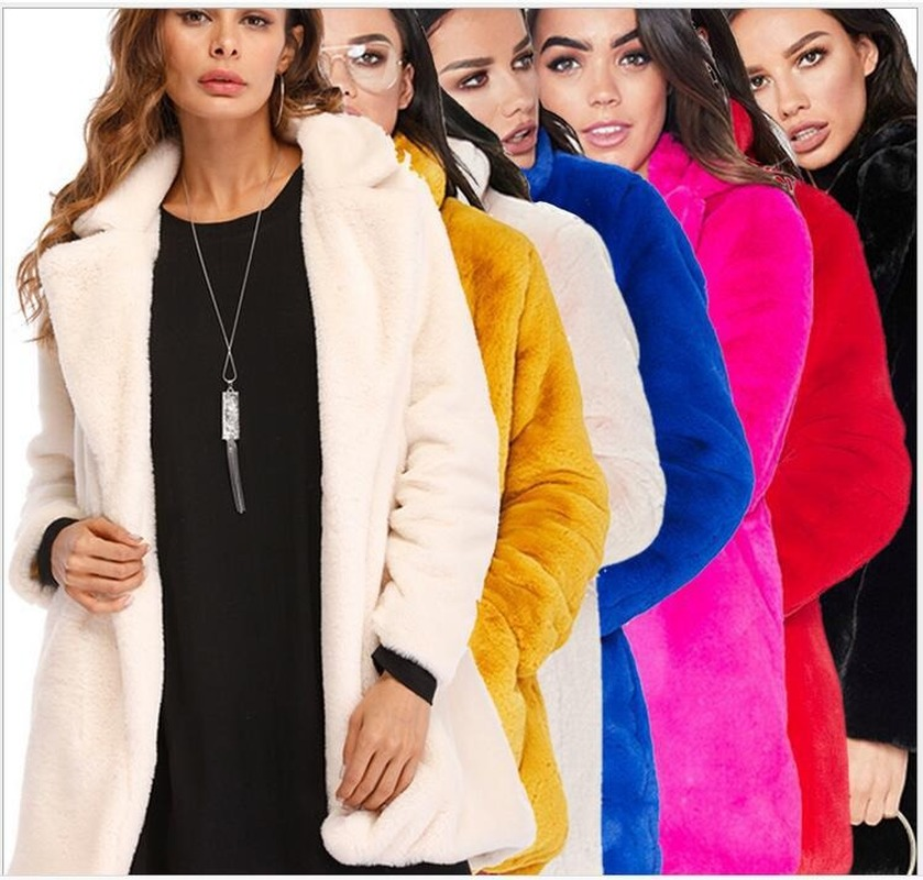 Plus Size Pink Shaggy Women Faux Fur Coat Streetwear Autumn Winter Plush Warm Coat Female Plus Size Overcoat Party