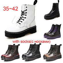 Couro genuíno 35 42 42 mulheres aumentou botas 2020 moda branco tornozelo botas de inverno para a mulher casual dr. motocicleta sapatos quentes 41