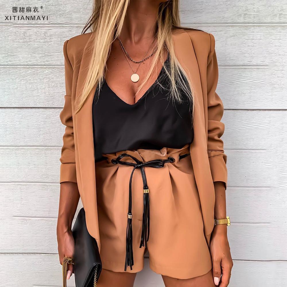 2019 New Fashion Women Formal Blazer Long Sleeve Maroon Ladies Retro Coat Female Pockets Blazer Work Office Business Suit D30