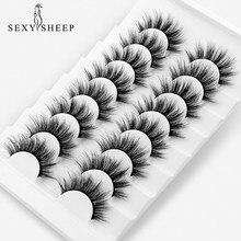 Sexysheep 5/8 pares 3d vison cílios postiços naturais volume dramático falso cílios maquiagem extensão cílios de seda