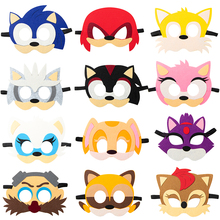 12Pcs Sonic Mask Party Decoration Set Game Cartoon Birthday Party Halloween Cool Accessories Favorite Ornament for Boys Girls