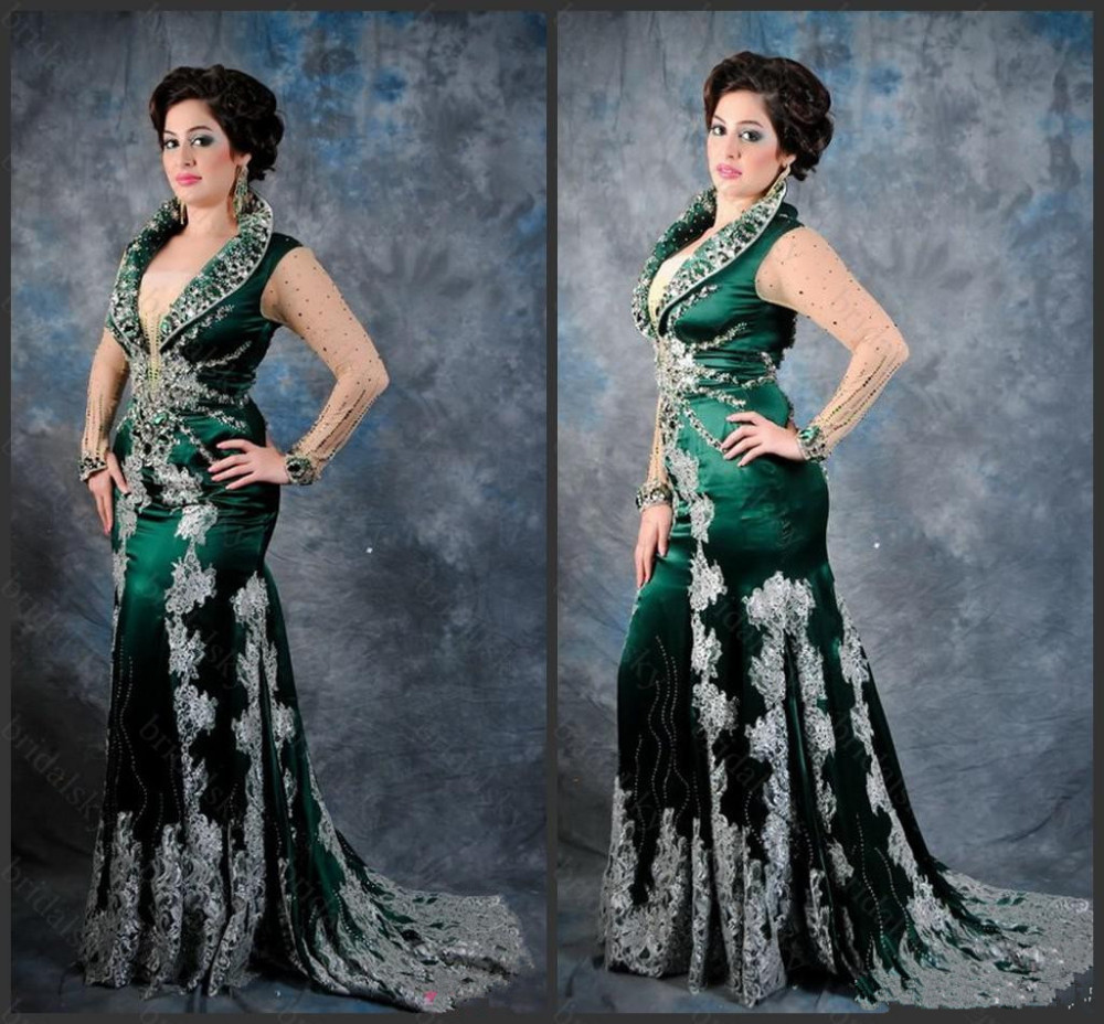 2018 Robe De Soiree Winter Sexy Arabic Evening Gown With Beads And Crystals Carpet Plus Long Sleeve Mother Of The Bride Dresses