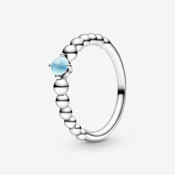 2020 HOT 100% 925 Sterling Silver  December Birthstone Beaded Ring Sterling Silver Jewelry Women Birthday Gift