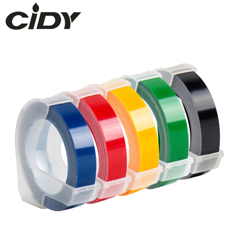 Cidy 5PCS Multicolor Dymo 3D 6/9/12mm Embossing Label Tape Compatible Dymo 1610/12965/1540/1880  For Motex E101 Label Makers